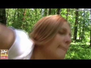 Парни сняли симпатичную тёлку на улице и повезли в лес. Часть 2.
